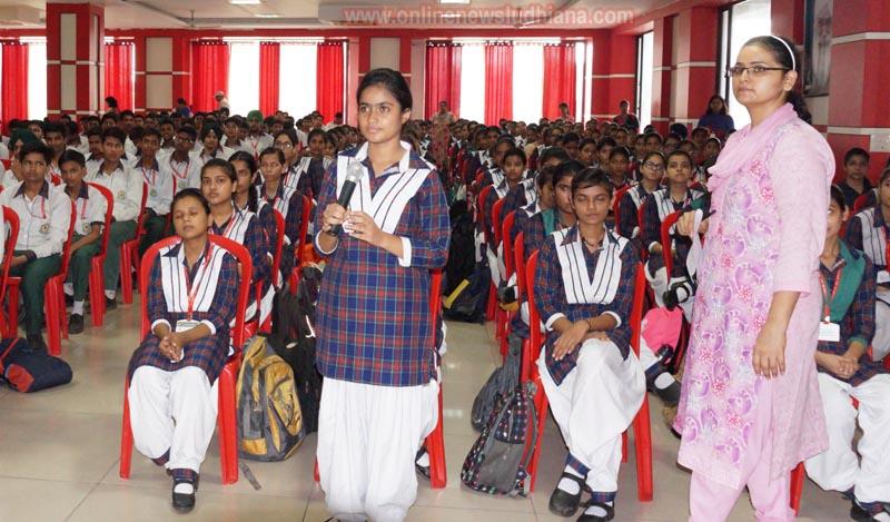 A student asking question during Talk Show at Green Land Sr. Sec. Public School
