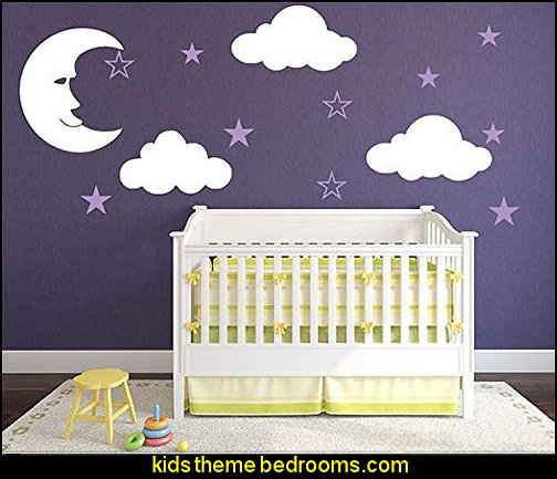 Nursery Decal with Fluffy Clouds, Man on the Moon, and Cute Stars Wall Stickers decal vinyl for Kids Rooms