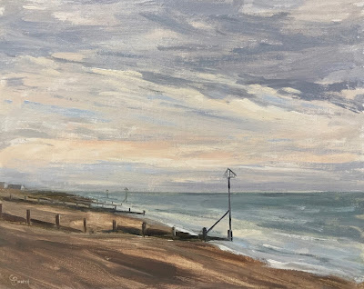 #145 Winter, Hayling Island Beach 9.5×12″