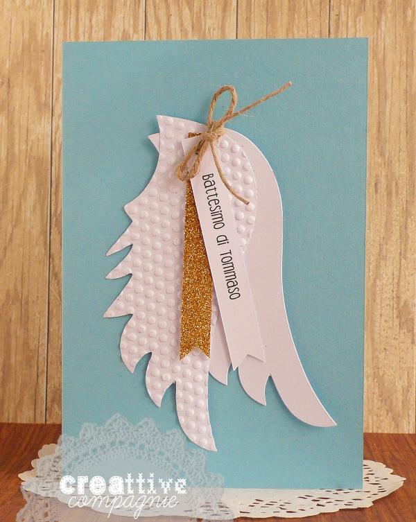 Biglietto Invito o Foto ricordo per Nascita e Battesimo con ali d'angelo