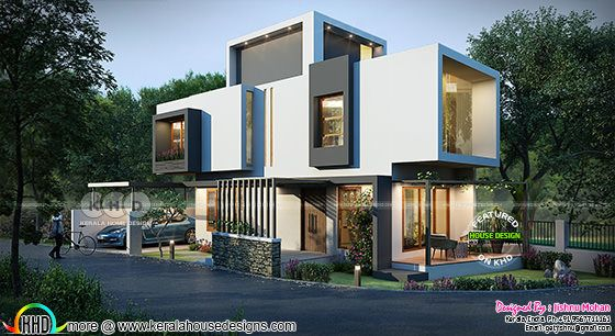 Open concept house architecture rendering