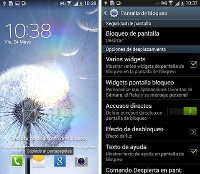 La actualización de Android para el S3 que Samsung ya prometió durante la presentación del S4 en Nueva York, la distancia entre el S4 y el S3 se hace todavía más pequeña. A pesar de que todavía no es posible contar con la actualización oficial de la 4.2.2 de Android, la versión Beta ya está disponible. Yo la he instalado en mi dispositivo para poder analizarla a fondo y he de dar una buena noticia: la nueva versión funciona perfectamente. He podido comprobar cuáles de las características del S4 se han incorporado el S3. Efecto de luz y Widgets en