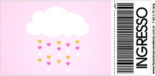 Tarjeta con forma de Ticket de Lluvia de Bendiciones para Nena.