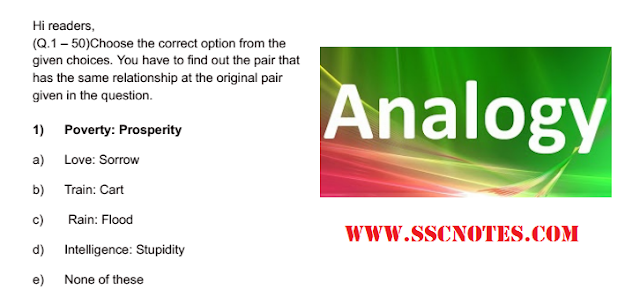 Analogy Test with Answers for Competitive Exams Download PDF