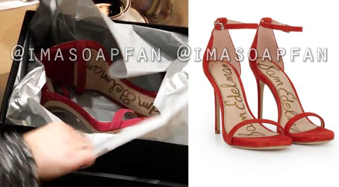 Maxie Jones, Kirsten Storms, Red Ankle Strap Stiletto Sandals, General Hospital, GH