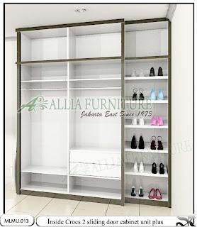Dalam lemari baju minimalis sliding cabinet unit sepatu Crocs