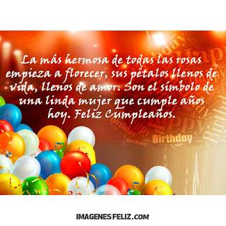 Feliz Cumpleaños Amiga hermosa mujer tarjeta con mensaje sobre flores y rosas