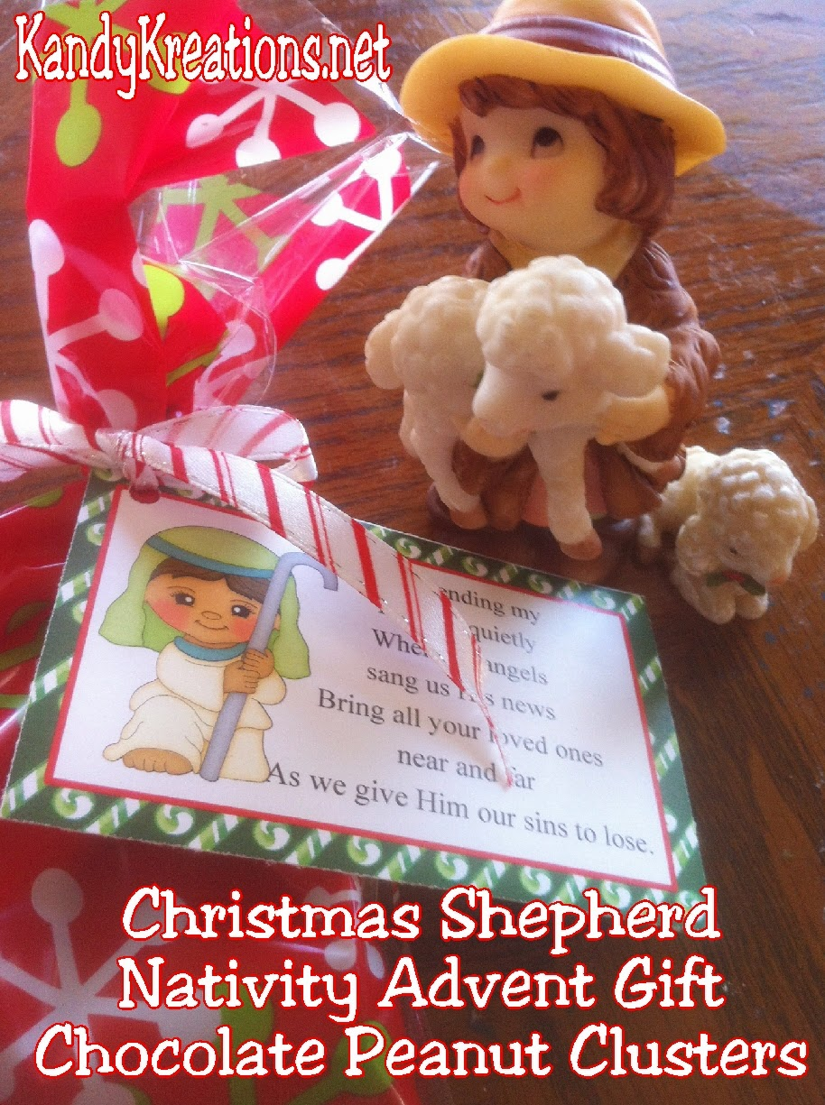 Celebrate with the Christmas shepherd as you count down to Christmas with this Nativity advent gift idea.  Give a nativity character and sweet treat each day to help bring a little Christ into Christmas. Day 8 is the last of the Christmas shepherds and his chocolate sheep patties Christmas candy. #nativity #christmas #advent #bagtopper #countdown #diypartymomblog
