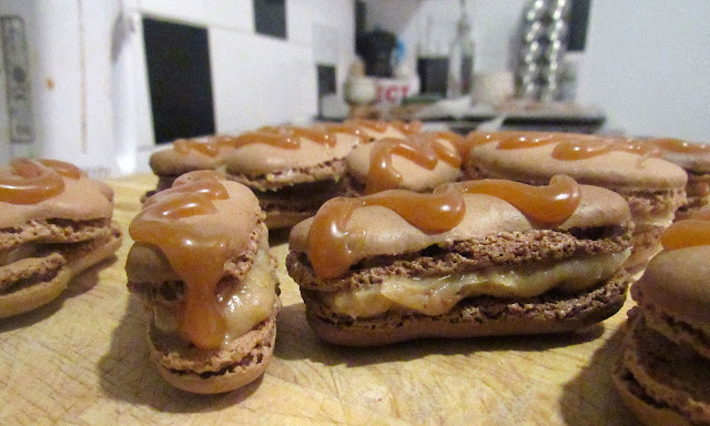 Chocolate peanut butter salted caramel macaron eclairs