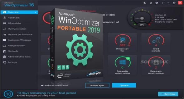 Ashampoo WinOptimizer 16.00.21 Portable Free Download