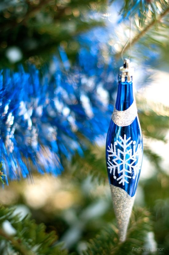 dark blue and white Christmas drop ornament
