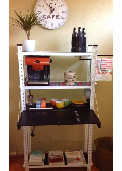 reutilizar y transformar una estantería metálica en un office y rincón de de lectura para la oficina