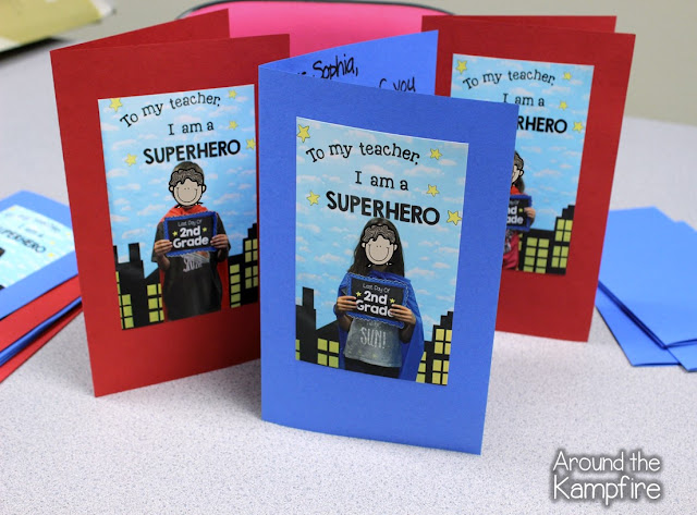 Super Hero Last Day Keepsake Cards