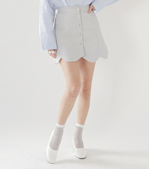 Scalloped Button-Down Mini Skirt