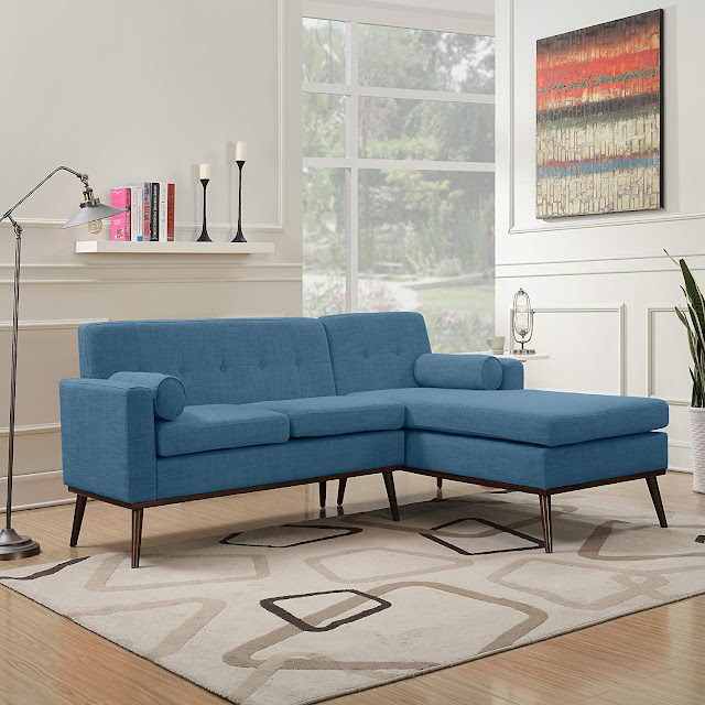 best mid century tufted blue sectional sofa for small living rooms