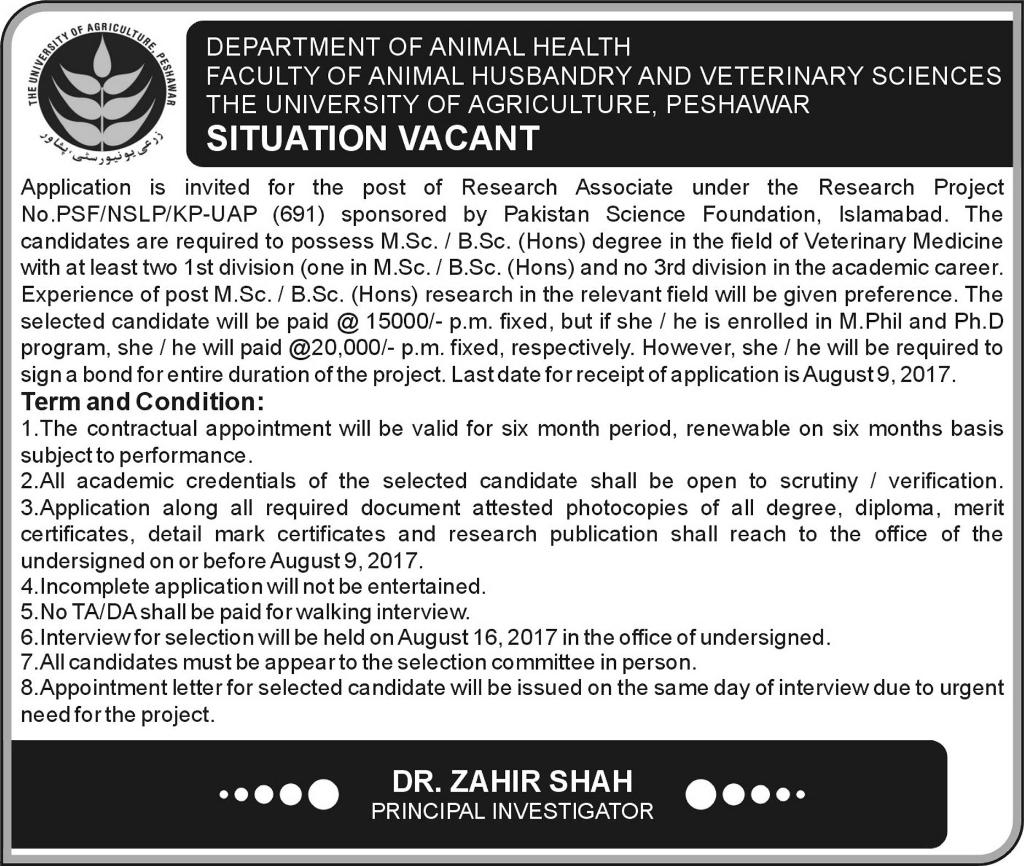 Job  in University of Agriculture Peshawar 25 July 2017.