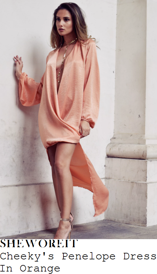 ferne-mccann-cheekys-penelope-sherbet-orange-long-sleeve-plunge-wrap-front-draped-asymmetric-stepped-hem-satin-dress