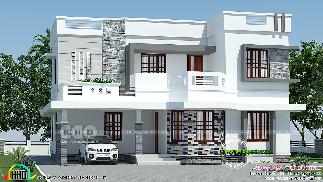 Decorative Flat Roof : Decorative flat roof bedroom house plan kerala home