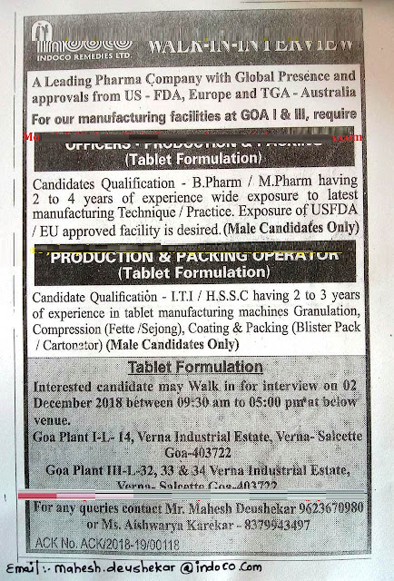INDOCO REMEDIES LTD Walk-In Interviews for Officer, Operators - Production & Packing at 2 December