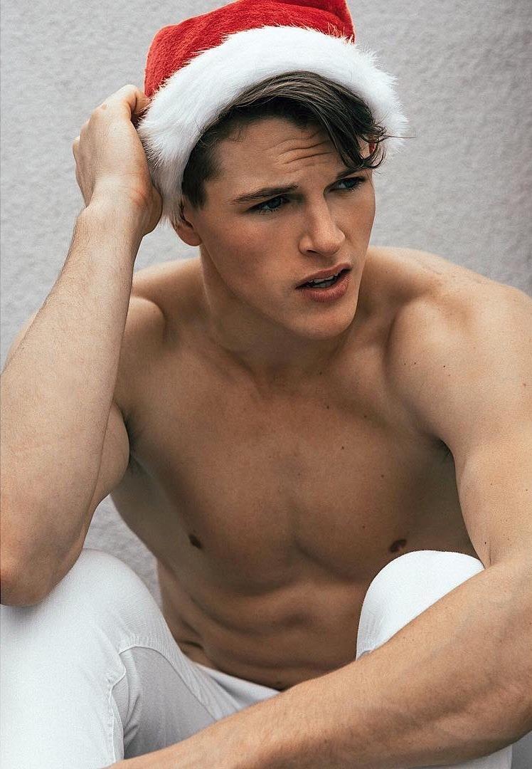 xmas, holidays, handsome guy, santa's hat, shirtless