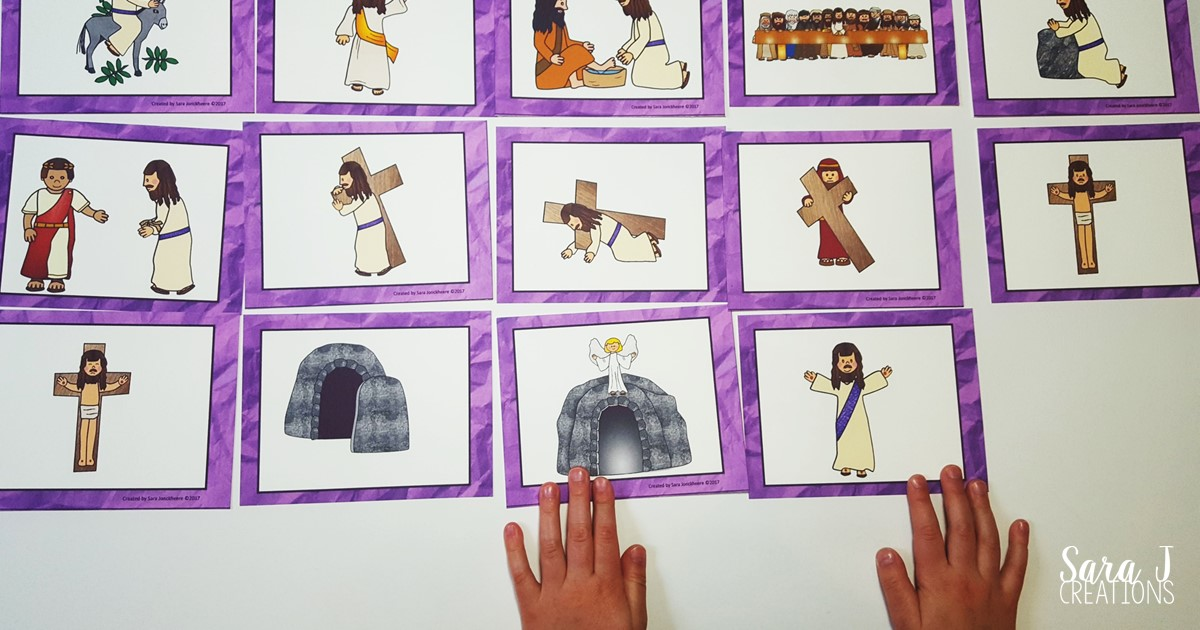 Free Holy Week matching card game to help children learn about and sequence the events leading up to Easter Sunday.