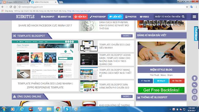 Tặng template blogspot đang sử dụng kèm điều kiện