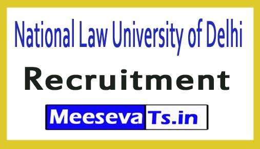 National Law University of Delhi NLU Delhi Recruitment