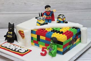 A LEGO-themed cake