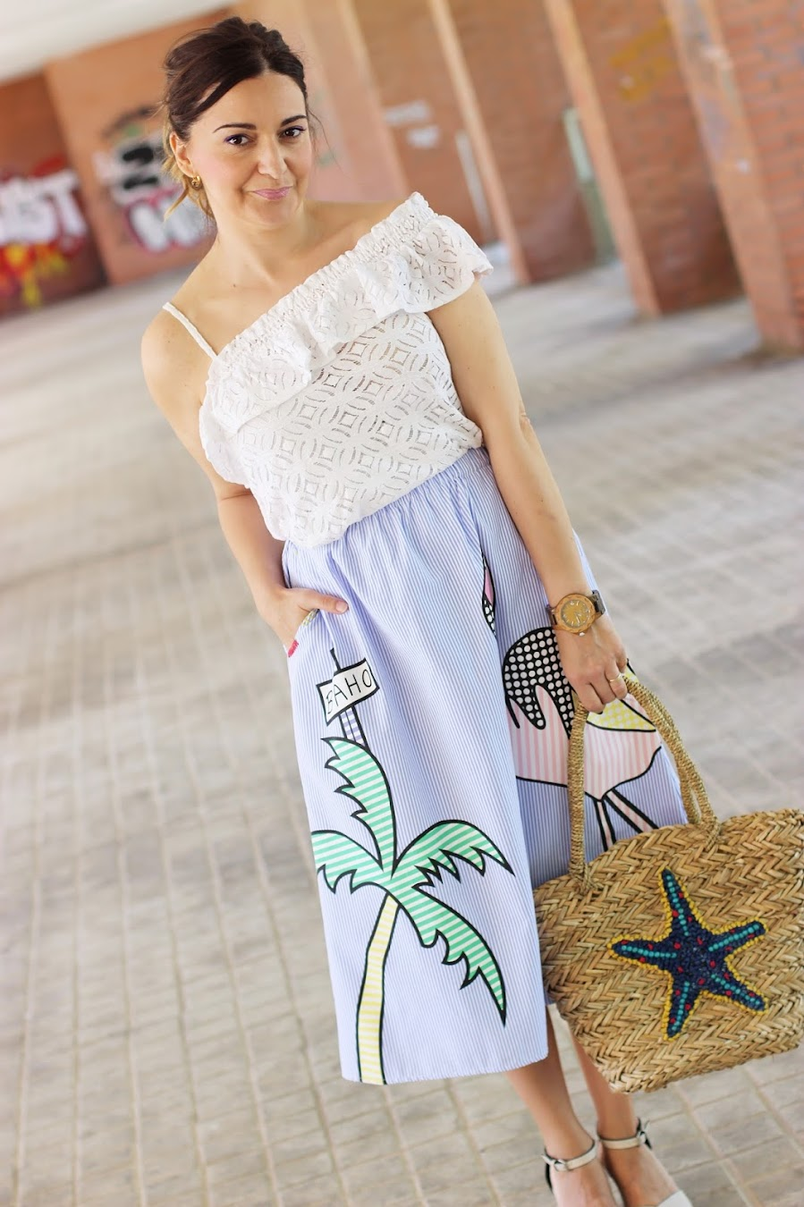 8a87aa77f El blog de Renée: Look con falda de rayas y dibujos
