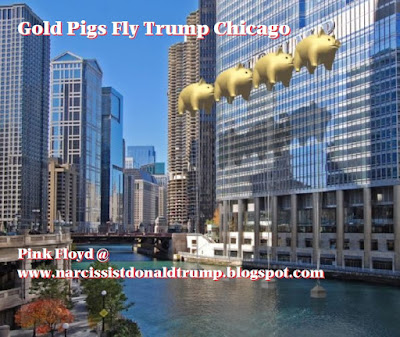 creative civil disobedience protest ganhi donald trump: gold pigs fly sign trump tower chicago and pink floyd tour