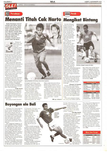LIGA INDONESIA: PERSEBAYA MENANTI TITAH CAK NARTO