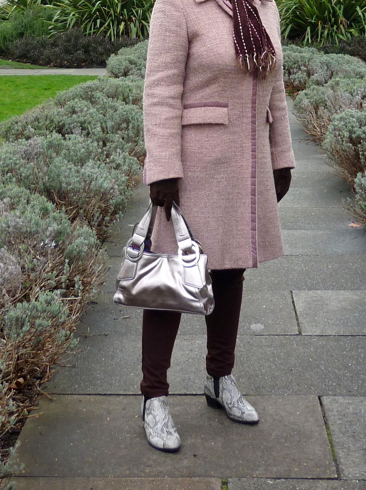 Spring Coat Rose Quartz Chocolate Brown Metallic Snakeskin Petite Silver Vixen