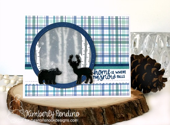 Winter card with deer and bear by Kimberly Rendino | Serene Silhouettes stamp set by Newton's Nook Designs #newtonsnook
