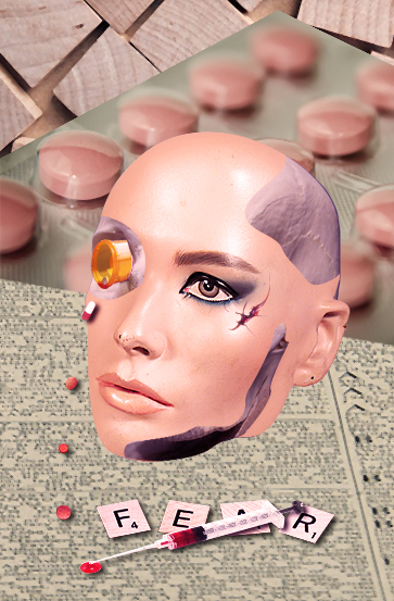 Image description: a mannequin head with a skeleton showing through it, through its right eyehole there's a bottle of pills, spilling them near a syringe and scrabble pieces writing FEAR. End description