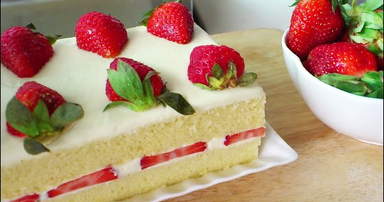 Japanese Sponge Cake Recipe Youtube: KitchenTigress: Japanese Strawberry Shortcake (草莓奶油蛋糕
