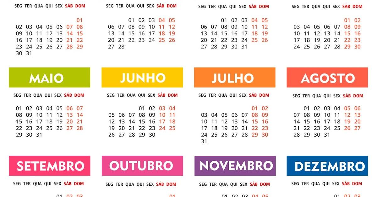 Base Calendário 2017 PSD,PNG,PDF,Ai Colorido | calendários grátis