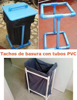 tachos de basura hechos con tubos de pvc