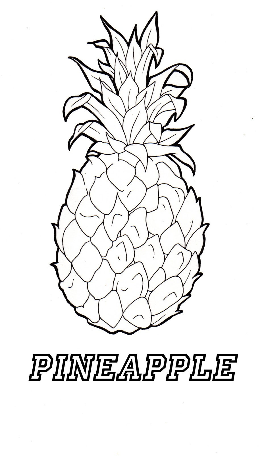 pineapple printable coloring page - pineapple coloring sheets cake ideas and designs