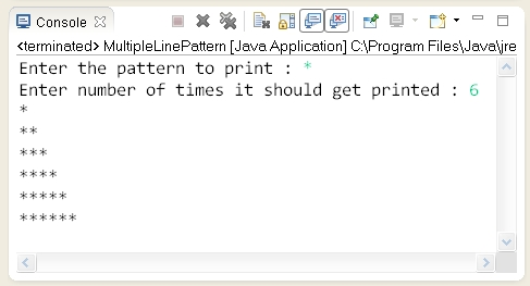 Pattern problems : Write a Java program to print same
