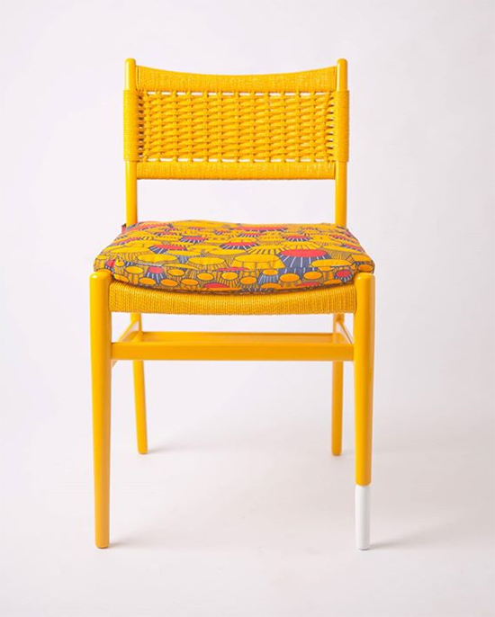 cadeira colorida, cadeira amarela, cadeira estofada, colorful furniture, Yinka Ilori