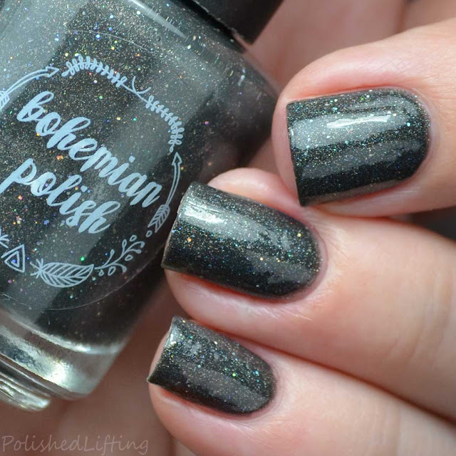 gray holographic nail polish