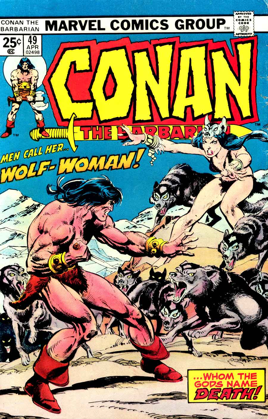 Conan the Barbarian v1 #49 marvel comic book cover art by Neal Adams