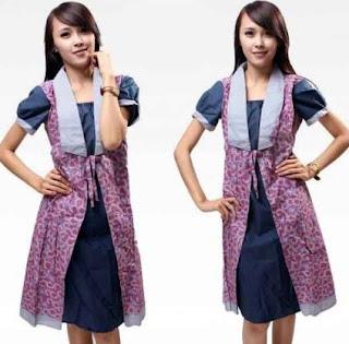 Contoh cardigan motif batik wanita muda simpel modern
