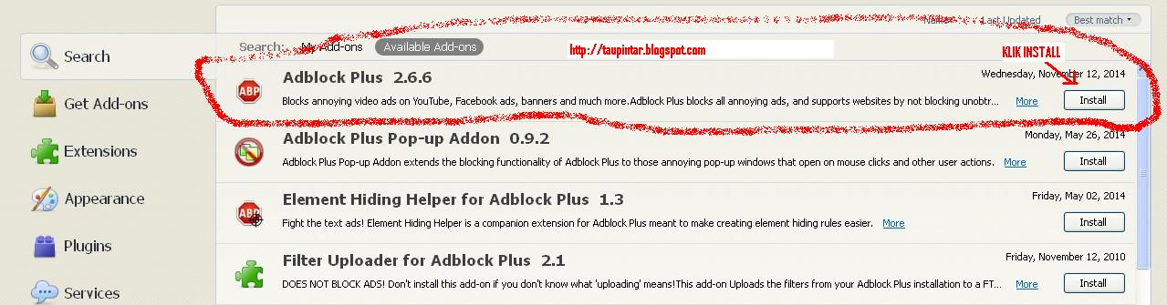 add-ons addblock plus http://taupintar.blogspot.com