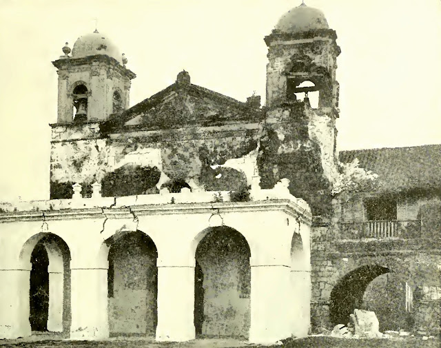 Caysasay Church, in the town of Taal, showing damage caused by earthquakes during the recent eruption.