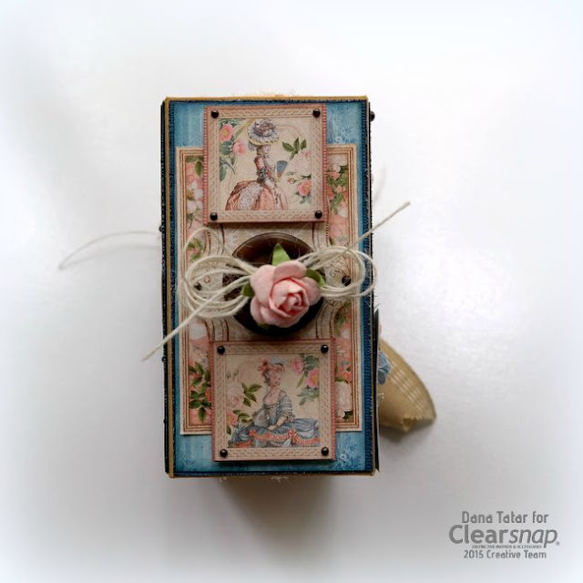 Graphic 45 Gilded Lily ATC Book Box Spine by Dana Tatar for Clearsnap