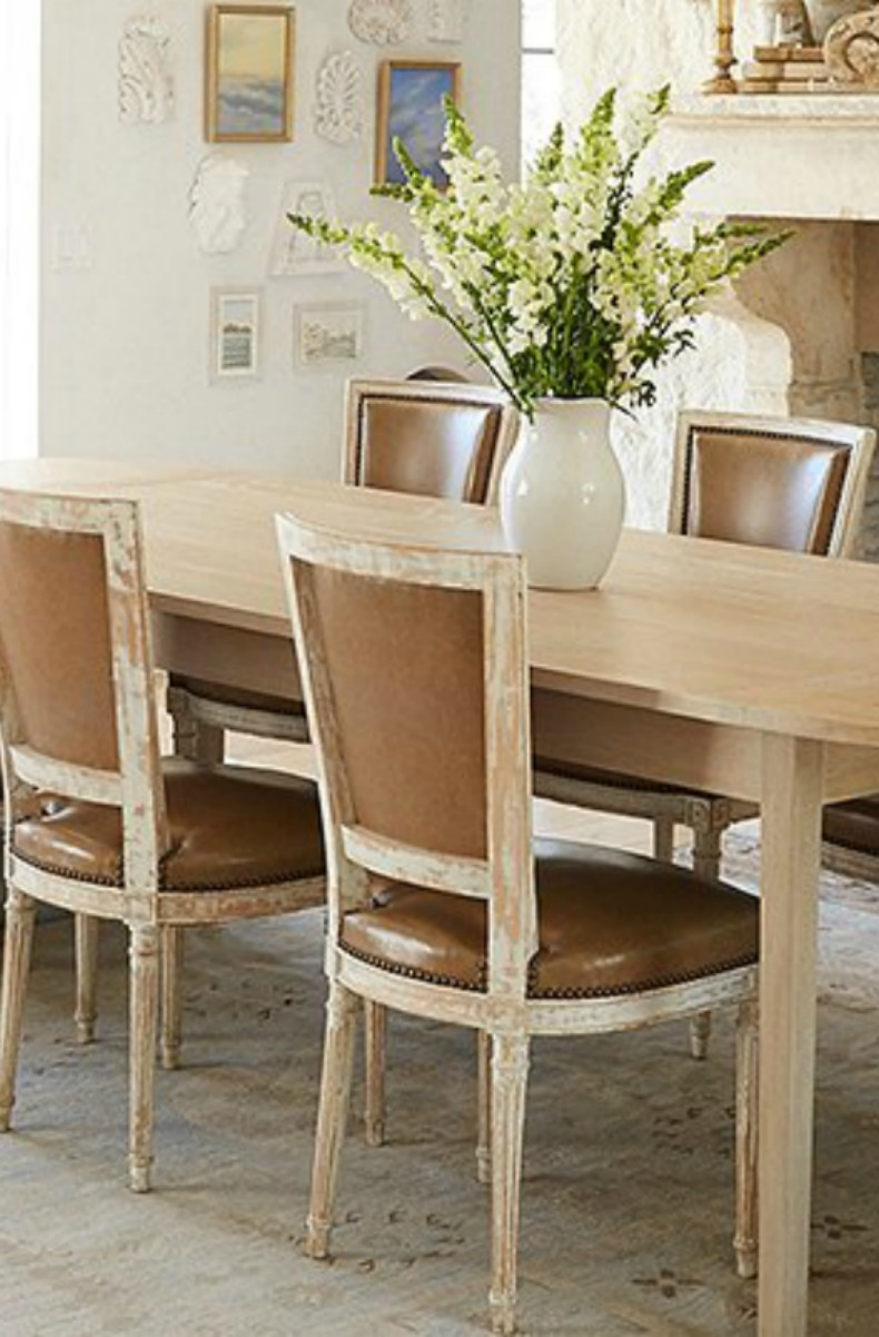 French dining chairs in #modernfarmhouse dining room by #GiannettiHome
