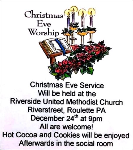 12-24 Christmas Eve Service, Riverside UMC, Roulette