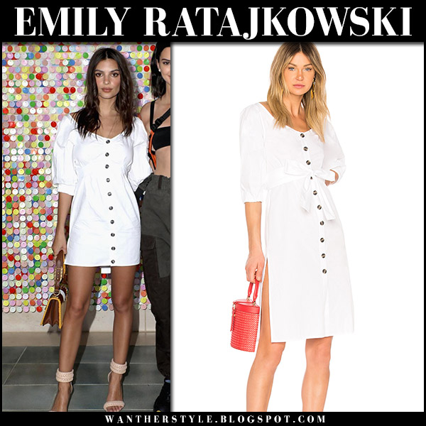 Emily Ratajkowski in white front button mini dress LPA coachella april 14 2018