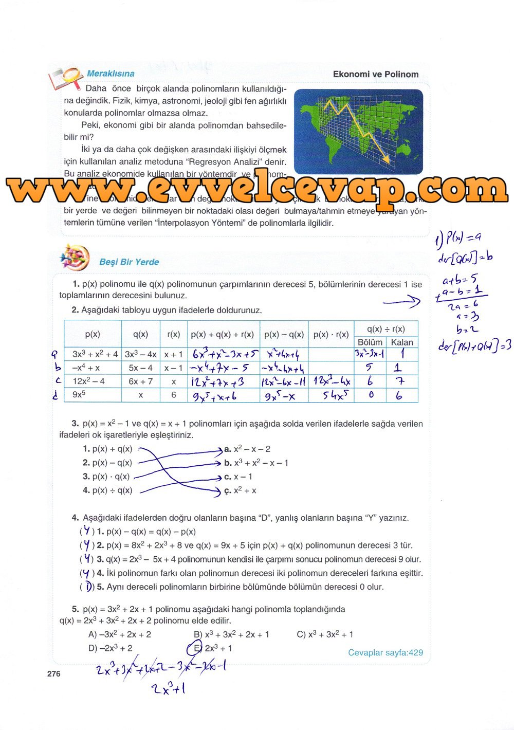 10. Sınıf Matematik Tuna Yayınları Ders Kitabı 276. Sayfa Çözümleri